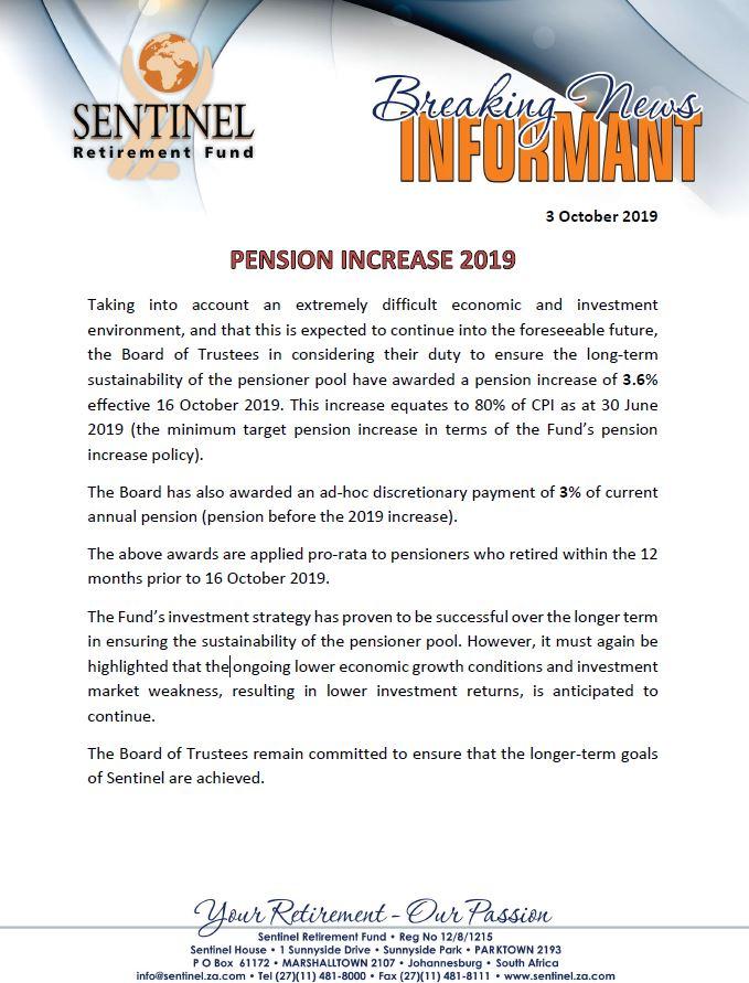 sentinel increase
